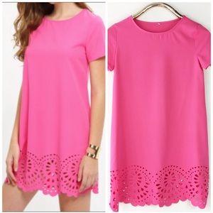 Floral Laser Cut Shift Dress Hot Pink Mini S